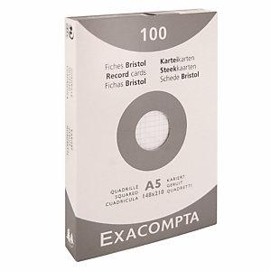 100 geruite bristol kaarten 14.8 x 21 cm  Exacompta kleur wit, per doos