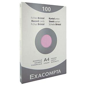 100 geruite bristol kaarten 21 x 29.7 cm  Exacompta kleur roze, per doos