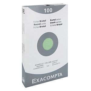 100 geruite bristol kaarten 7,5 x 12,5 cm  Exacompta kleur groen, per doos