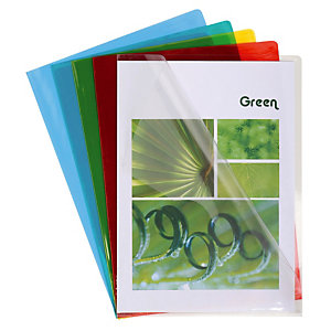 100 pochettes coin transparentes PVC 13/100e coloris assortis