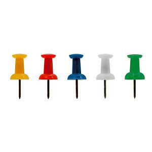 100 push pins speldjes, geassorteerde kleuren, per doos