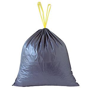 100 sacs poubelle à poignées coulissantes 30 L coloris gris