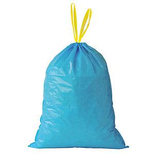100 sacs poubelle à poignées coulissantes Tradition 30 L coloris bleu