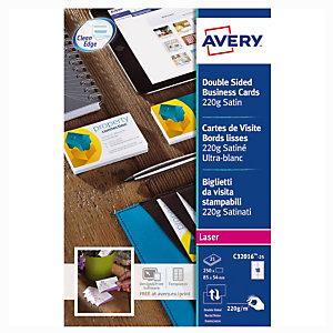 100 visitekaartjes kleur wit C32016 Quick & Clean Avery, per doos