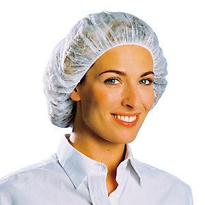 100 witte ronde wegwerpkapjes, goedgekeurd voor contact met voedingswaren, één maat.