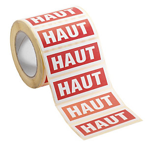 """1000 étiquettes d'expédition horizontales mention """"Haut"""""""