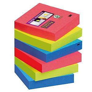 12 blocs notes repositionnables Post-it® Super Sticky Bora Bora 47,6 x 47,6 mm