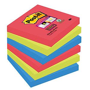 12 blocs notes repositionnables Post-it® Super Sticky Bora Bora 76 x 76 mm