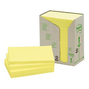 16 blokken gele herplaatsbare gerecycleerde memo's Post-it® 76 x 127 mm