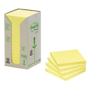 16 blokken gele herplaatsbare gerecycleerde memo's Post-it® 76 x 76 mm