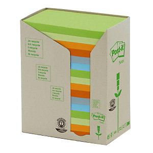 16 blokken herplaatsbare gerecycleerde memo's Post-it® geassorteerde kleuren 76 x 127 mm