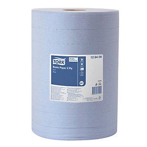 2 blauwe handdoekrollen Tork Basic, 1000 vellen