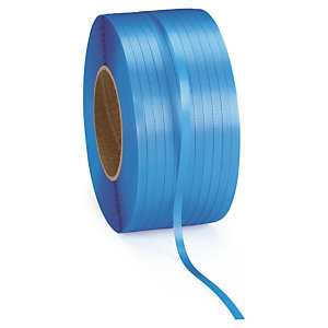 2 bobines feuillard polypropylène bleu largeur 12mm, diamètre 200 mm.
