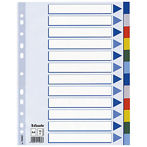 2 jeux d'intercalaires 12 touches renforcées neutres multicolores Esselte en polypro format A4