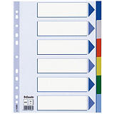 2 jeux d'intercalaires 6 touches renforcées neutres multicolores Esselte en polypro format A4