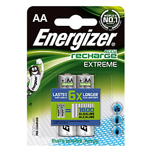 2 piles rechargeables Energizer Extreme AA - HR03 2300 mAh