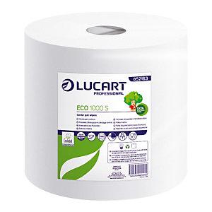 2 witte handdoekrollen Eco Lucart, 1000 vellen