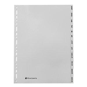 2 x 12 intercalaires mensuels Exacompta format A4 polypro 12/100e
