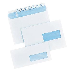 200 extra witte DL enveloppen La Couronne met beschermstrip 110 x 220 mm met venster 35 x 100 mm velijn 100 g