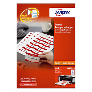 200 printbare badges Avery – 54 x 90 mm