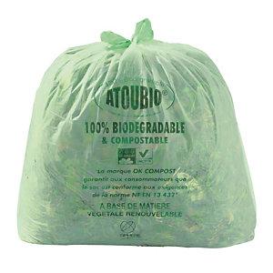 200 sacs biodégradables avec lien de fermeture 80 L