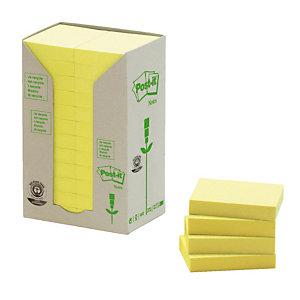 24 blokken gele herplaatsbare gerecycleerde memo's Post-it® 38 x 51 mm