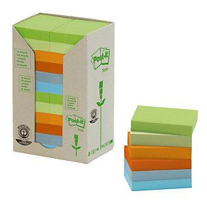 24 blokken herplaatsbare gerecycleerde memo's Post-it® geassorteerde kleuren 38 x 51 mm