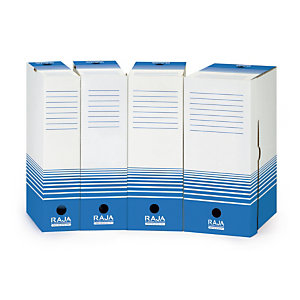 25 boites archives Raja dos 8 cm coloris bleu, le lot