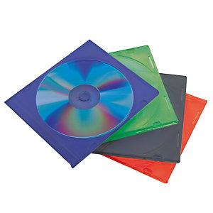 25 boitiers CD fins en plastique coloris assortis