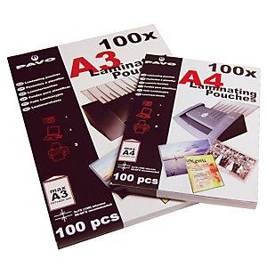 25 pochettes de plastification à chaud 2 x 75 microns format A3 Pavo, le sachet