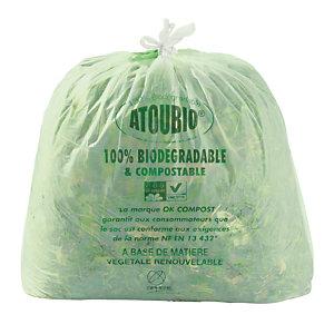 250 sacs biodégradables à poignées coulissantes 40 L