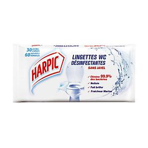 30 lingettes nettoyantes désinfectantes Harpic antibactérien