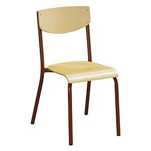 4 chaises scolaires pieds bruns