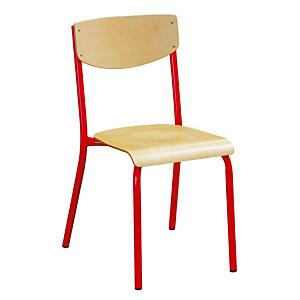 4 chaises scolaires pieds rouges