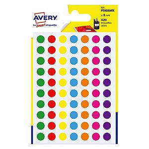 420 gekleurde kleefpastilles diameter 8 mm, 7 geassorteerde kleuren