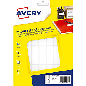 448 étiquettes blanches multifonctions Avery 48,5 x 18,5 mm