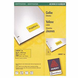 480 étiquettes adhésives laser coloris jaune L6035 Avery, la boîte