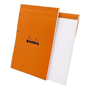 5 blocs Rhodia A4 agrafés modèle non perforé réglure 5 x 5