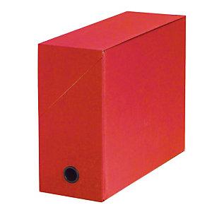 5 boites de classement carton dos 12cm coloris rouge