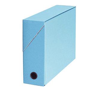 5 boites de classement carton dos 9 cm coloris bleu clair