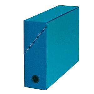 5 boites de classement carton dos 9 cm coloris bleu foncé
