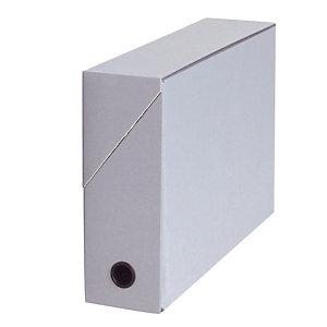 5 boites de classement carton dos 9 cm coloris gris