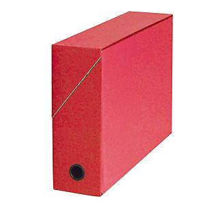 5 boites de classement carton dos 9 cm coloris rouge