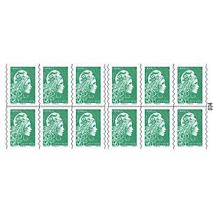 5 carnets de 12 timbres postaux autocollants Marianne Lettre verte 20 g