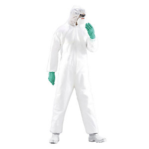 5 combinaisons de protection jetables standard blanches, taille L