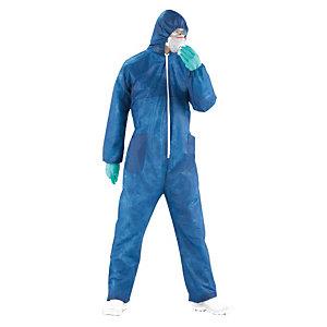 5 combinaisons de protection jetables standard bleues, taille L