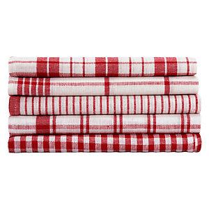 5 keukendoeken in rood katoen geassorteerde motieven