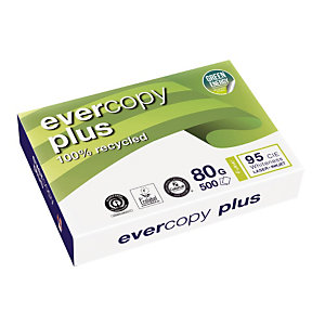 5 papierpakken 100% gerecycleerd Evercopy + A4 80 g