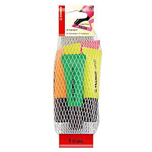 5 tekstmarkers Stabilo Néon geassorteerde kleuren