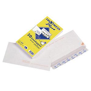50 enveloppes DL blanches La Couronne précasées à bande protectrice 110 x 220 mm sans fenêtre vélin 80 g